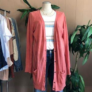 Loft 100% linen peach pink button down cardigan lg